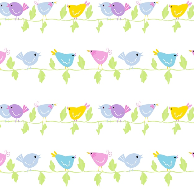 Cartoon birds on the branches seamless editable background pattern
