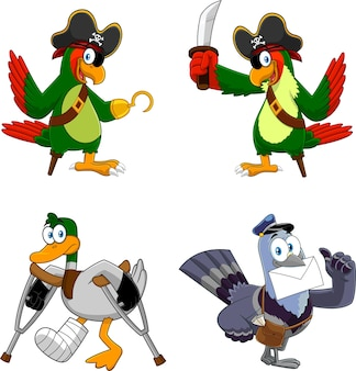 Cartoon birds characters