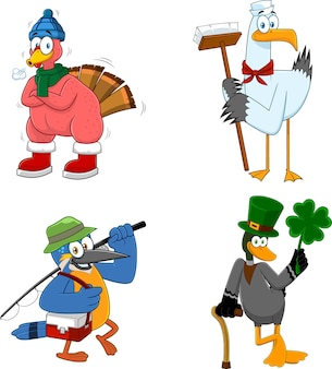 Cartoon birds characters