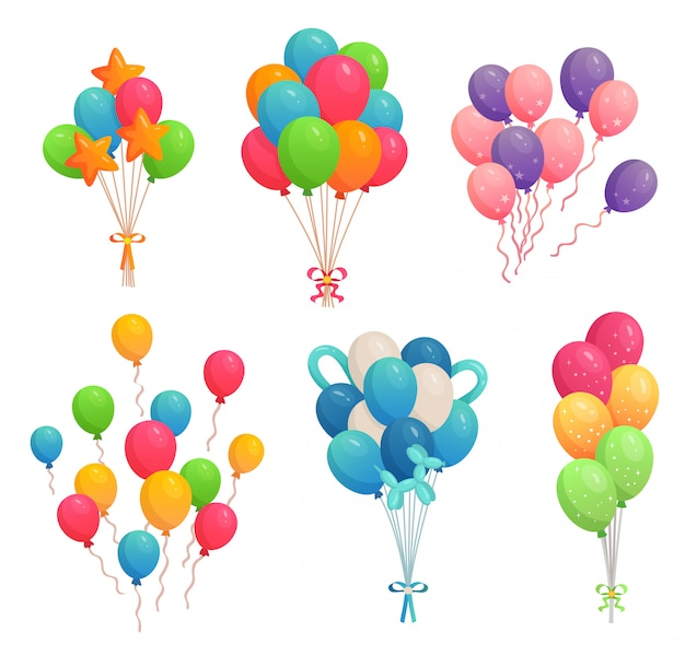 Cartoon birthday balloons. colorful air balloon, party decoration and flying helium balloons on ribbons  illustration set