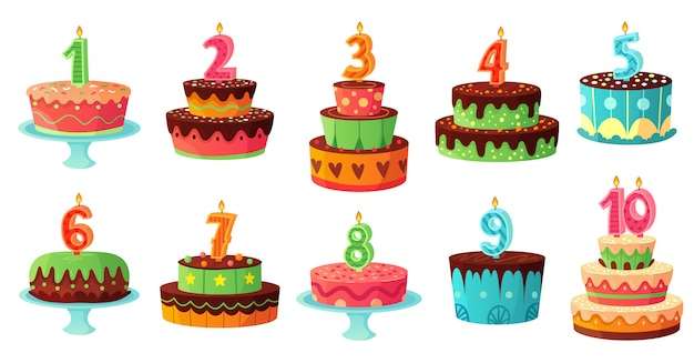 Cartoon birthday cake numbers candle. anniversary candles, celebration party cakes  illustration set