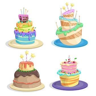 만화 생일 케이크 세트입니다. 재미 있는 평면 스타일. 초콜릿, 양초, 달콤한 크림, 장식이 있는 케이크, 흰색으로 분리된 벡터 삽화.