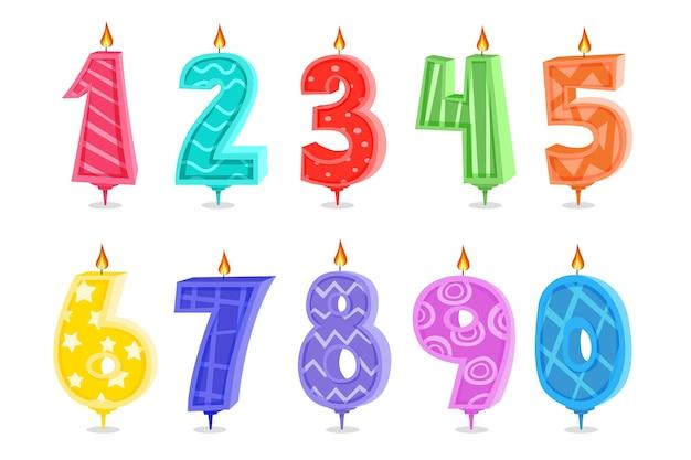 Мультяшные свечи на день рождения на белом фоне Premium векторы