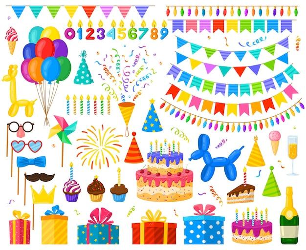 만화 생일 파티 축하 풍선, 케이크 및 선물. 카니발 파티 장식, 사탕 및 촛불 벡터 일러스트 레이 션 세트. 생일 축하 요소