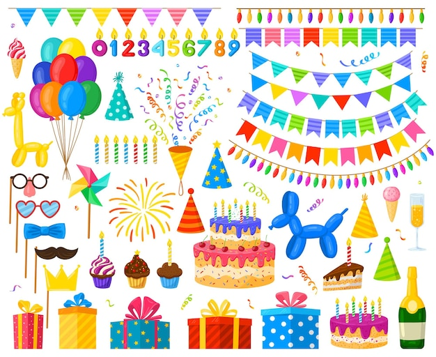 Cartoon birthday party celebration balloons, cake and gifts. carnival party decorations, candy and candles vector illustration set. birthday celebration elements