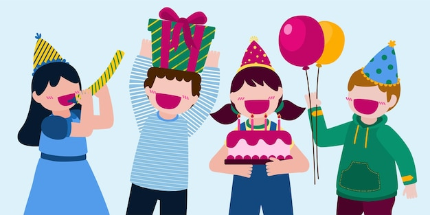 Gente della festa di compleanno dei cartoni animati l'uomo e la donna hanno una festa di compleanno a casa