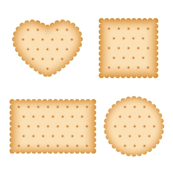 Cartoon biscuit, eating pastry, breakfast cookies vector set