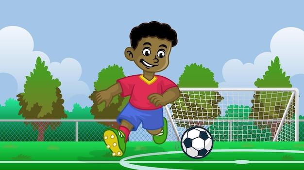 Мультяшный черный мальчик футболист в поле