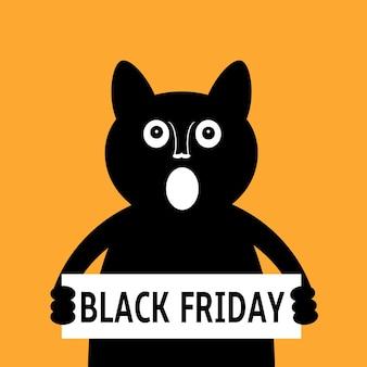Cartoon black cat calls for black friday sale
