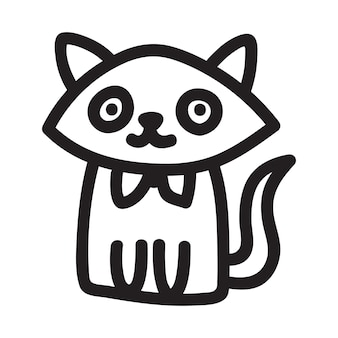 Cartoon black cat drawing simple and cute kitten silhouette