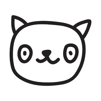Cartoon black cat drawing. simple and cute kitten silhouette