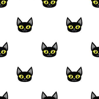 Мультфильм черная кошка бесшовный фон фон