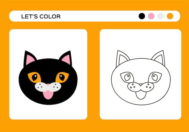 Cartoon black cat. wicth cat color book. coloring education for kids. happy halloween game. vector
