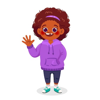 Cartoon black girl illustration waving
