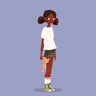 만화 흑인 소녀 그림