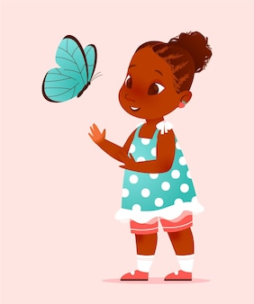 Cartoon black girl illustration