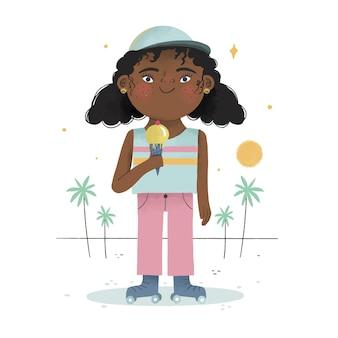 Cartoon black girl illustration