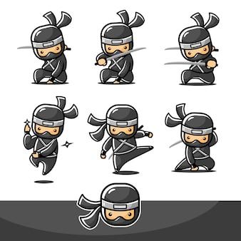 6つの新しい異なるポーズで設定された漫画の黒い小さな忍者
