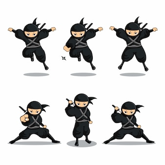 Cartoon black ninja jump with dart and stand with sword
