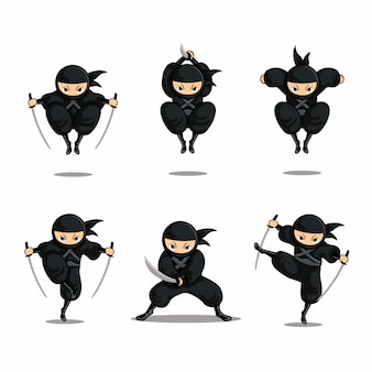 Cartoon black ninja set action with jump