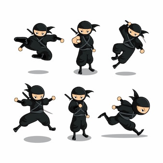 Cartoon black ninja set with six different action  with run action