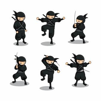 6つの異なるアクションで設定された漫画黒忍者