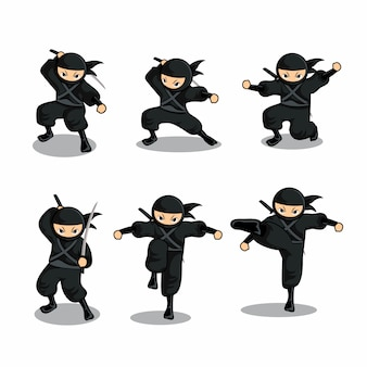 Cartoon black ninja set with six different action