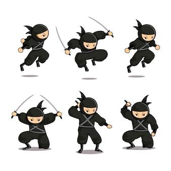 Cartoon black ninja with six different moves