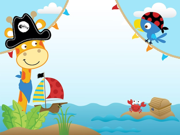 Cartoon of blank empty   frame with funny pirates, giraffe with bird hunting treasure