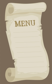 Cartoon blank empty paper menu for restaurant