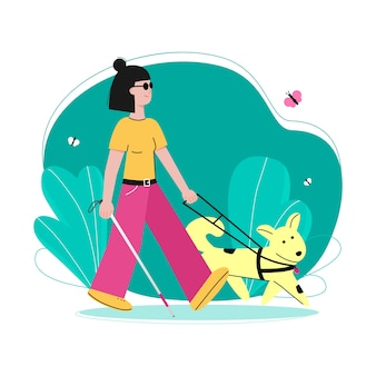 Cartoon blind girl and cute guide dog walking in summer park and smiling