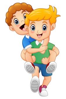 Cartoon blond boy giving his friend a piggyback ride