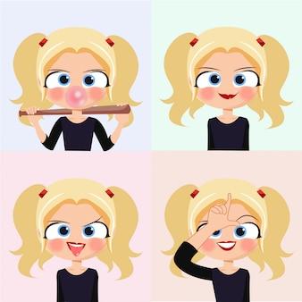 Cartoon blonde girl face emotions smile crazy