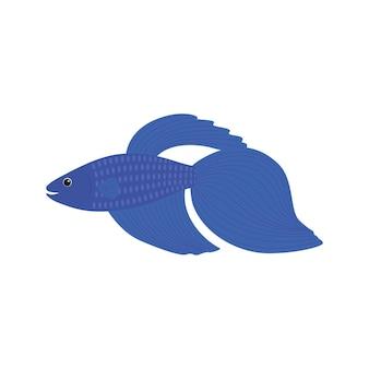 Мультяшная синяя рыба бетта, сиамская бойцовая рыба, бетта splendens