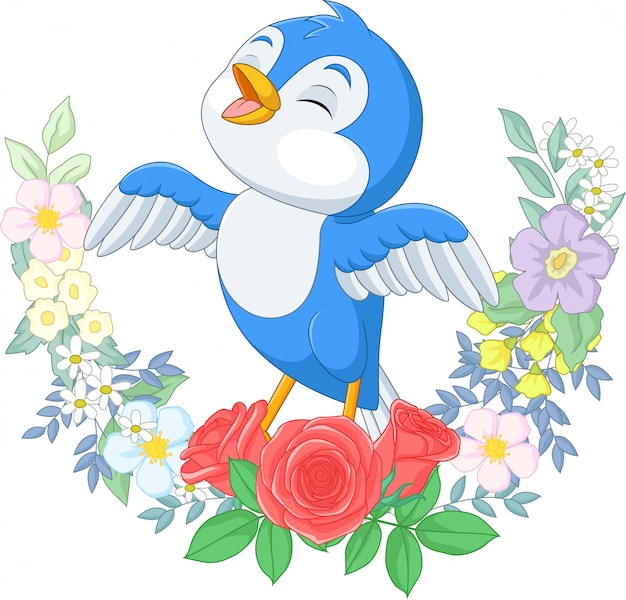 Cartoon blue bird singing on tree branch