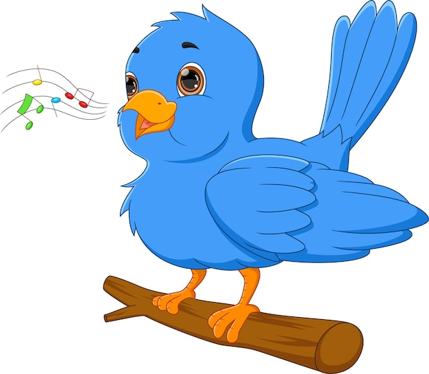 Cartoon blue bird singing on white background