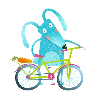 Cartoon blue bunny with bicycle
