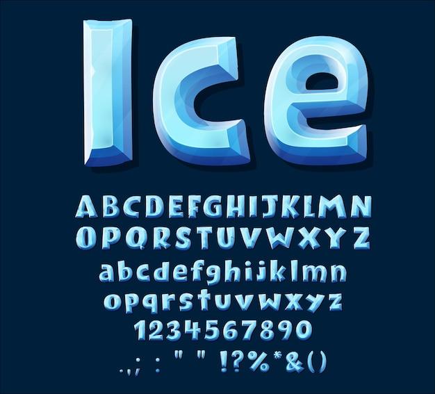 漫画の青い氷の結晶のフォントタイプ。大文字のアルファベット、数字、句読記号。ベクトルabc文字、冬の凍結した数字と記号。ゲームデザインのための分離された氷のフォント