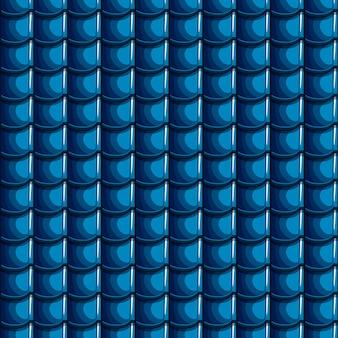 漫画の青い屋根タイルのシームレスな背景