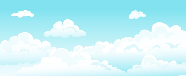 Cartoon blue sky and curly clouds