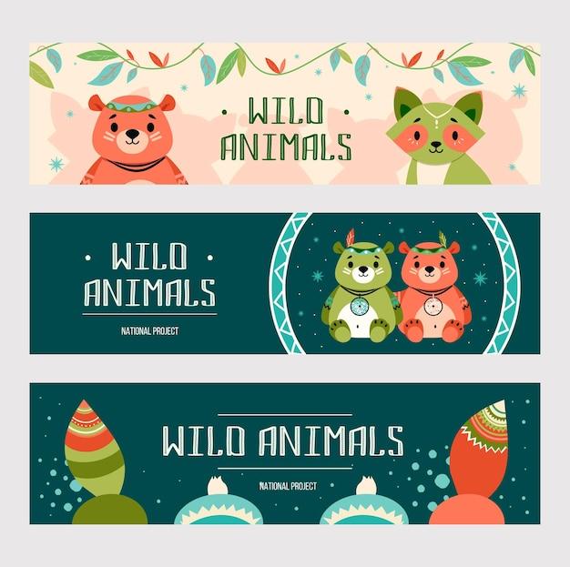 漫画自由奔放に生きる動物のバナーセット。ネイティブアメリカンの装飾が施されたかわいいクマとアライグマ