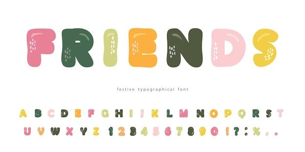 Мультяшный жирный шрифт веселые буквы для детей