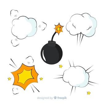 만화 폭탄과 폭탄 폭발 효과 컬렉션 무료 벡터