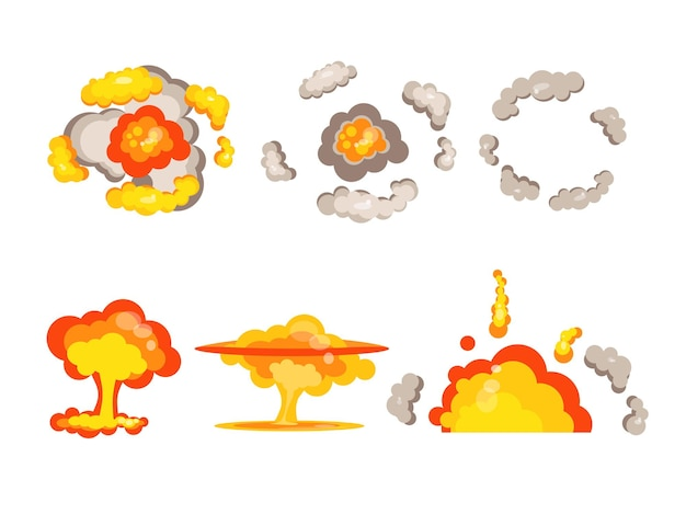 Cartoon bomb explosion side and top view vector illustration