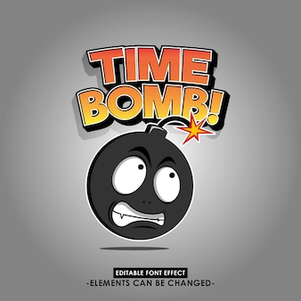 Cartoon bomb illustration with cartoon font style