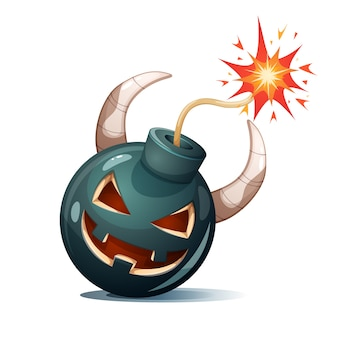 Cartoon bomb, pumpkin characters. halloween illustration