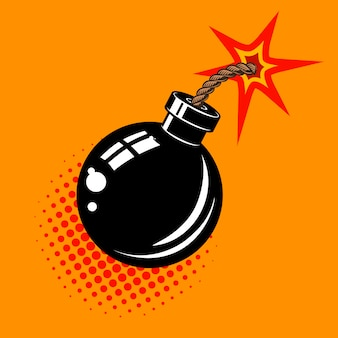 Cartoon bomb with fire illustration.  element in .