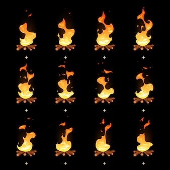 Cartoon bonfire flame animated sprites. fire animation illustration, burning campfire