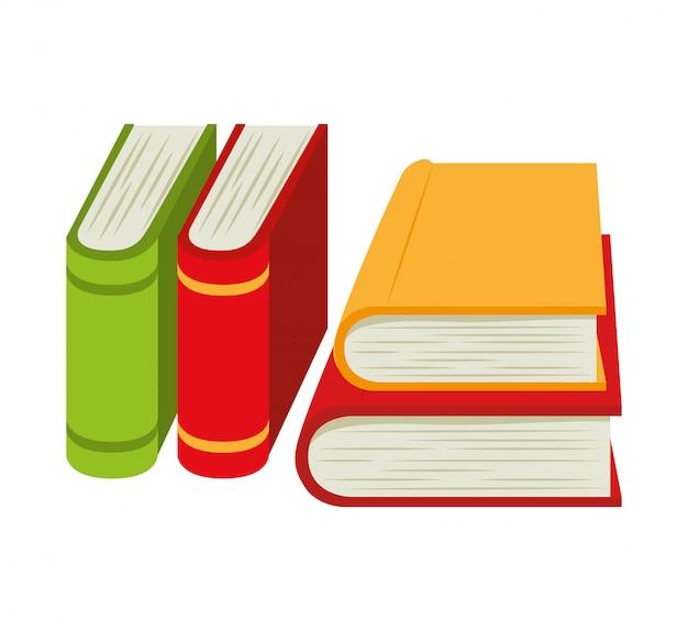 Cartoon books pile school design