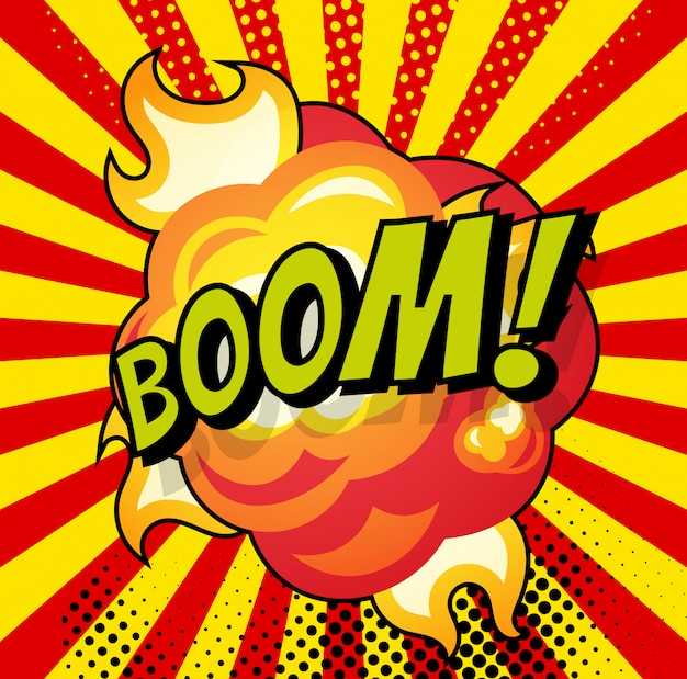 Cartoon, boom explosion comic speech bubble. comic book page
